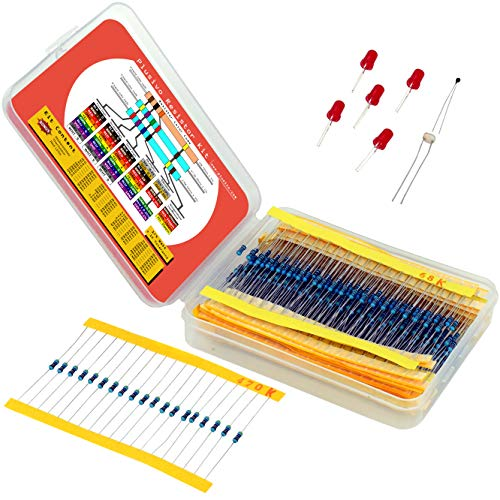 Resistor Assortment Kit - Set of 600 Assorted Resistors from 10 Ohm to 1 MOhm in a Box- Metal Film Resistors Variety Pack with 30 Values Plus Thermistor, Photoresistor and ()