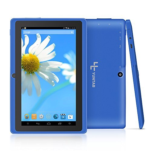 Yuntab Q88 7 Inch Allwinner A33,1.5 Ghz Quad Core Google Android Tablet PC,512MB+8G,Dual Camera,WiFi,Mini USB,G-Sensor,Support SD/MMC/TF Card(Blue)