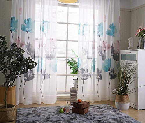 Aside Bside Sheer Window Curtains Chinese Watercolor Style Floral Pattern Rod Pocket Top Voile Tulle Printed Curtains Drapes for Living Room(1 Panel, W 50 x L 63 inch, White) (Cortina De Ba??o)