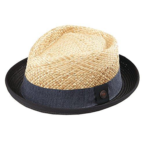 30ac2acd55da4d Dasmarca Mens Straw Retro Porkpie Summer Hat - Milo Black L