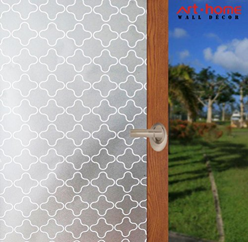 """Arthome Frosted Window Film Privacy Film No Gule Static Cling Anti UV Heat Control for Home Kitchen Office Living Room Bathroom Bedroom 17.7"""" x 100""""(45 x 254 cm AHP303)"""
