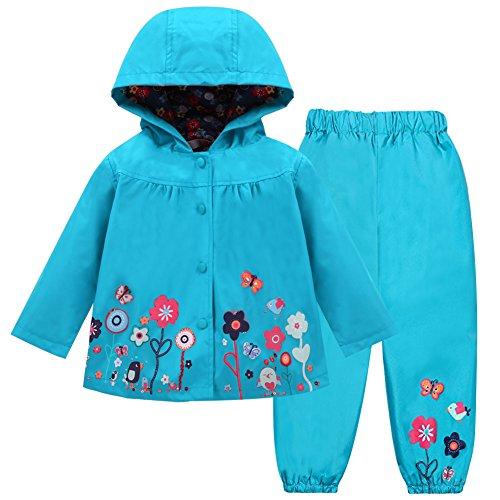 Pants Jacket And Hooded - LZH Girl Baby Kid Waterproof Hooded Coat Jacket Outwear Suit Raincoat Hoodies with Pants Blue 5(For Age 4-5Y)