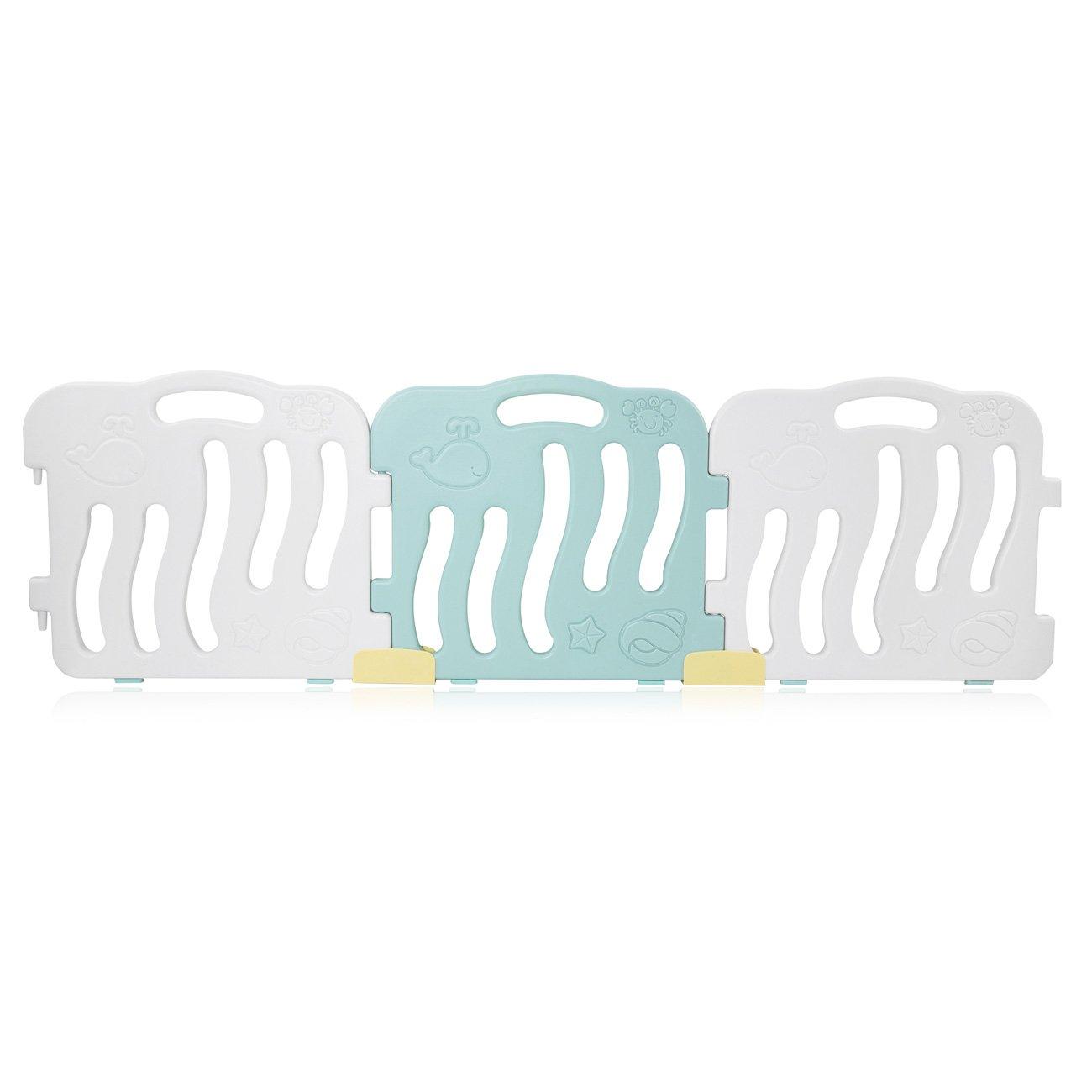 Baby Vivo Laufgitter Laufstall Baby Absperrgitter Krabbelgitter Schutzgitter Schutzgitter Schutzgitter für Kinder aus Kunststoff mit Tür und Spielzeug 14 Elemente in Türkis Weiß - Bailey 5b8360