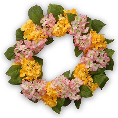 National Tree 24 Inch Floral Wreath with Yellow and Pink Hydrangea Flowers (ED3-105-24W) Review
