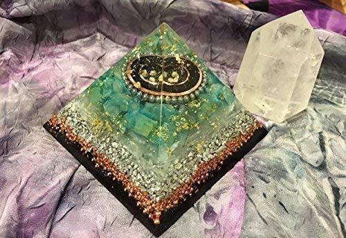 Shungite Pyramid Triple Orgone Anti Stress Generator Green Calcite