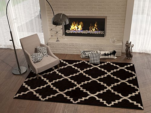 "Black Ebony 8×11 ( 7'10"" x 10'6″ ) Area Rug Trellis Morrocan Modern Geometric Wavy Lines Area Rug Living Dining Room Bedroom Resistant Carpet Contemporary Soft Plush Quality Review"