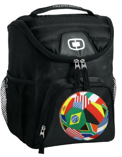 Soccer Lunch Bag Insulated Soft Cooler Black World Cup Fan Best Size Lunchbox by Broad Bay
