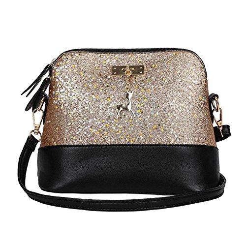 QUICKLYLY Bolsos Mano de Mujer Fiesta Moda Cuero de PU Empalme Bolso Bolsa de Hombro Bolso Crossbody Oro