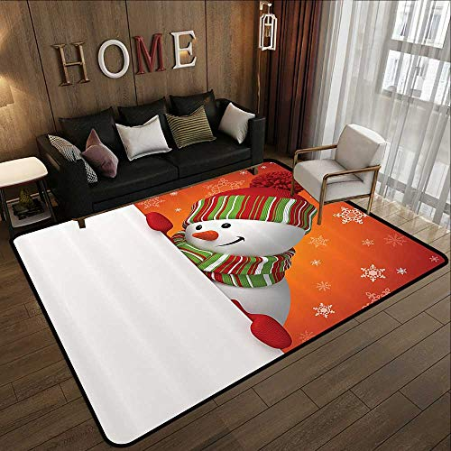 Multi-Color Modern Area Rug,Christmas Snowman,Cute Christmas Funny with Mittens and Hat and Scarf Merry Christmas Themed,Red White 78.7