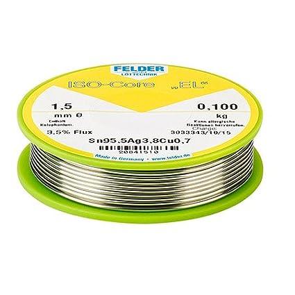 Felder NiGe-Lötzinn ISO-Core 'EL' Sn100Ni+ (SnCu0.7), 100-g-Spule ø 0,8 mm