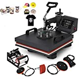 Mophorn Heat Press 15x15 Inch 5pcs Heat Press Machine 1050W Multifunctional Sublimation Dual LED Display Heat Press Machine for t Shirts Swing Away Design (15x15Inch, 5IN1 Element)