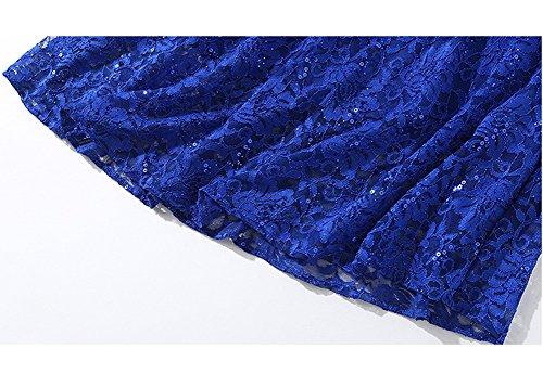 Kleider Damen Reine Spitze Hohl Midi Cocktailkleid girl Blau Kleid Cocktail YL43609 Partykleid Kurzarm E q6EvBwx