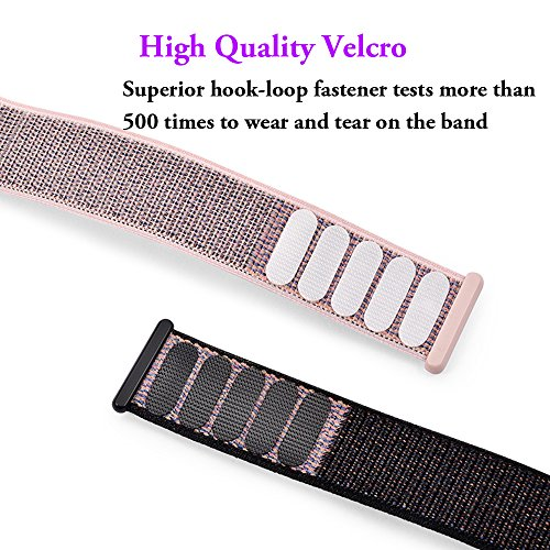 For Apple Watch Band,Yunsea New Nylon Sport Loop with Hook and Loop Fastener Adjustable Closure Wrist Strap Replacment Band for iwatch,38mm,Pink Sand by Yunsea (Image #3)