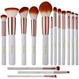 BS-MALL(TM) Premium Synthetic Kabuki Makeup Brush Set Cosmetics Foundation Blending Blush Eyeliner Face Powder Brush Makeup Brush Kit (15pcs, White Rose)