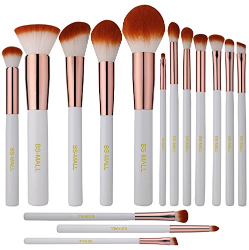 BS-MALL Premium Synthetic Kabuki Makeup Brush Set Cosmetics Foundation Blending Blush Eyeliner Face Powder Brush Makeup Brush Kit (15pcs, White Rose)