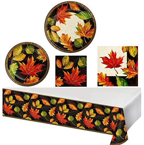 Paper Dessert Plates Harvest - Thanksgiving Autumn Fall Leaves Holiday Harvest Party Supply Kit Tableware Set/Disposable Dinner Luncheon and Cake Dessert Paper Plates, Napkins, Tablecloth for 16 Guests/Black, Gold, Red/Checklist
