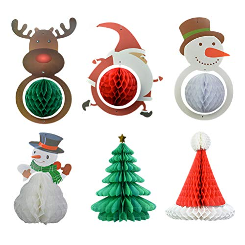 BESTOYARD 6pcs Christmas Santa Claus Snowman Hanging Decoration Paper Honeycomb Balls Xmas Party Favor Home Decoration