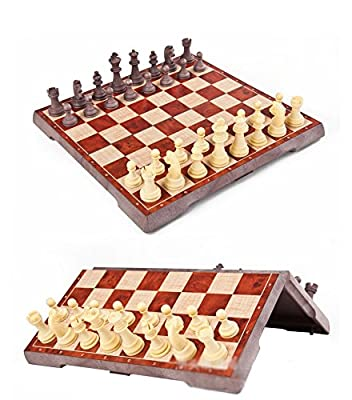 KIINGSUNG 2-in-1 Folding Magnetic Travel Chess & Checkers for Kids or Adults Chess Board Game (12.2X12.2X0.8 Inch)