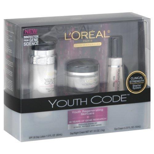 L'Oréal Paris Code jeunesse Kit de Soin Régénérant (Lotion de jour, jour / nuit, crème pour les yeux)