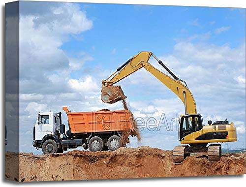 - Barewalls Excavator and Rear-End Tipper Gallery Wrapped Canvas Art (16in. x 20in.)