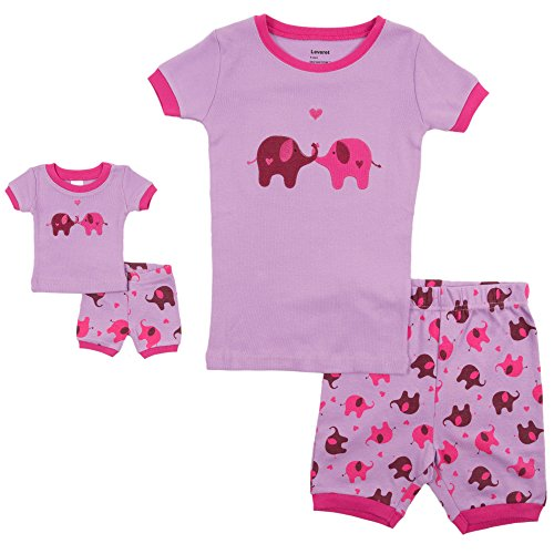 558aee3f25 Leveret Shorts Matching Doll   Girl Elephant 2 Piece Pajama Set 100% Cotton  Size 8 Years