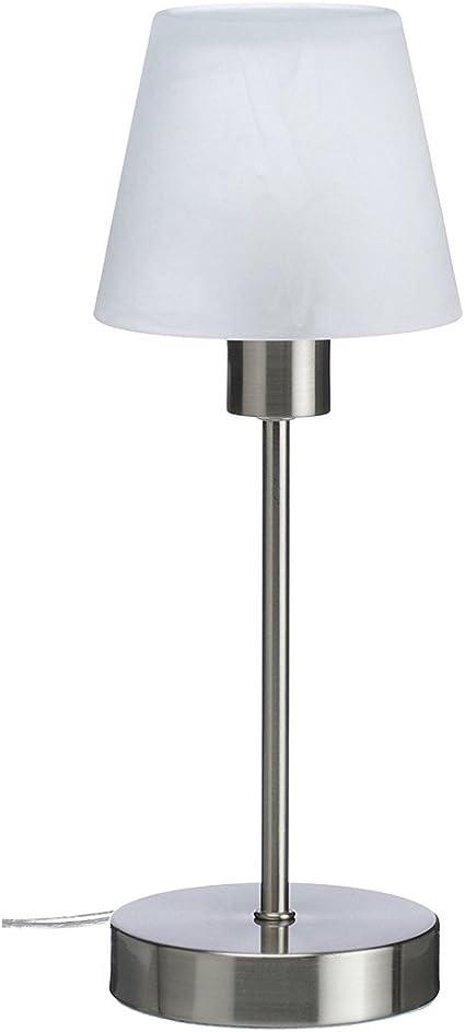 Lámpara de mesa con regulador de intensidad táctil, níquel mate ...
