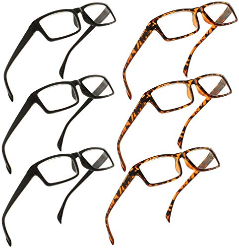 Reading Glasses 1.25 | 6 Pack Readers for Men and Women | 3 Black & 3 Tortoise - Fiori Light 2