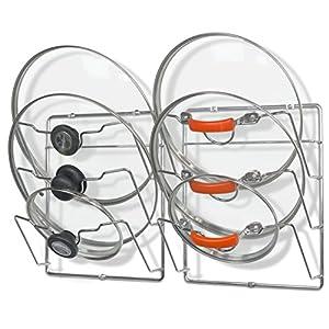 2 Pack – Simple Houseware Cabinet Door / Wall Mount Pot Lid Organizer Rack, Chrome