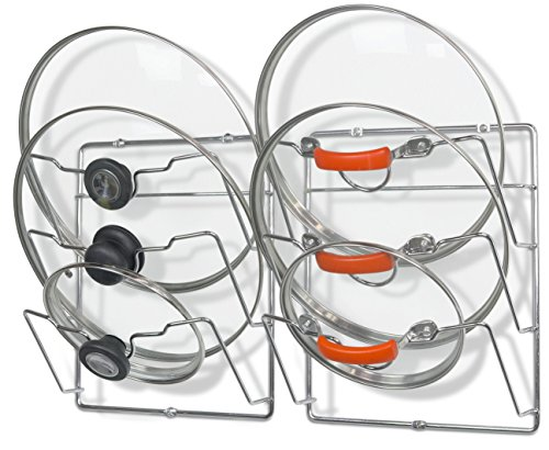 2 Pack - SimpleHouseware Cabinet Door/Wall Mount Pot Lid Organizer Rack, Chrome (Pan Lid Rack)