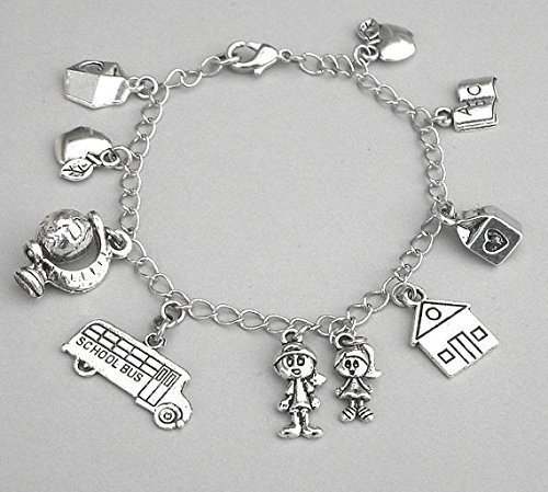 Antiqued Silver Teacher Bracelet with School Themed Charms