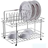 Skyzone Stainless Steel 2 Layer Plate & Bowl Stand Kitchen Utensil Rack (Silver)