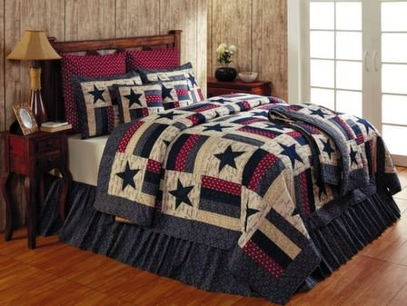 Liberty Collection Red White & Blue Primitive Bedding Queen Skirt
