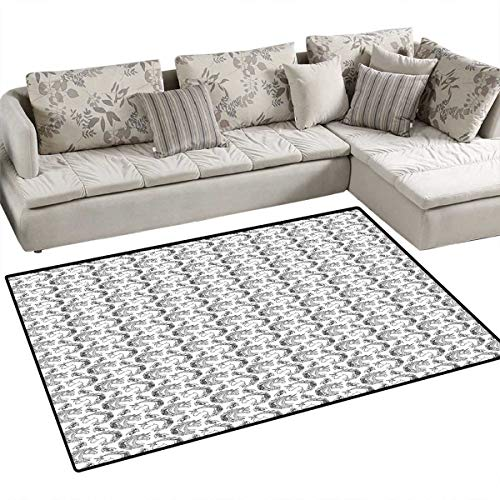 Tattoo Door Mats Area Rug Fictional Animal and Orchids Unicorn Profile with Peacock Feathers on Its Mane Hair Bath Mat Non Slip 48