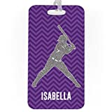 Softball Luggage & Bag Tag | Personalized Faux Glitter Chevron Pattern | Standard Lines on Back | LARGE | PURPLE