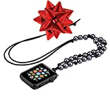 Apple Watch Necklace, Handmade Necklaces Accessories Adaptor for Apple Watch Series 1 2 3, Neck Strap Chain Fit Apple 42mm SmartWatch ALL Models [42 mm - Black Cord - Faux Black Pearl]