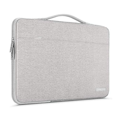 MOSISO 360 Protective Laptop Sleeve Compatible with 13-13.3 inch MacBook Pro, MacBook Air, Notebook Computer, Polyester Bag with Trolley Belt, Gray