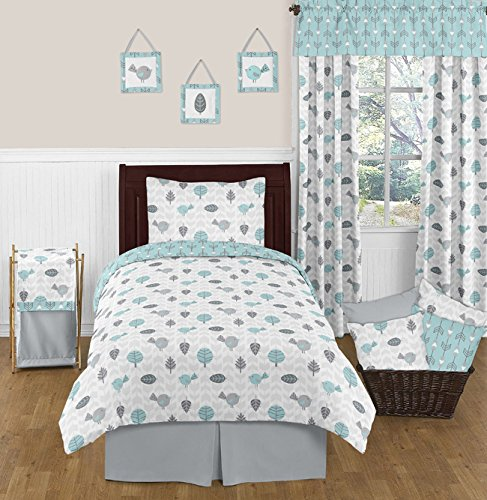 Sweet Jojo Designs 3-Piece Twin Sheet Set for Turquoise Gray Earth Sky Bedding Collection