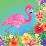 Creative Converting Big Value 50 Count 3-Ply Lunch Napkins, Luau Flamingo Hibiscus Heat