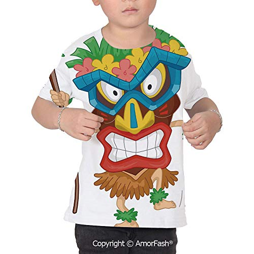Tiki Bar Decor Children's Summer Casual T Shirt Dresses Short Sleeve,Native Man