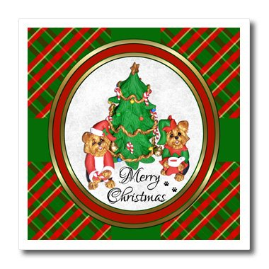 3dRose ht_185551_1 Cute Merry Christmas Santa and Elf Yorkie Yorkshire Terrier Dog Art-Iron on Heat Transfer Paper for White Material, 8 by (Christmas Elf Pictures)