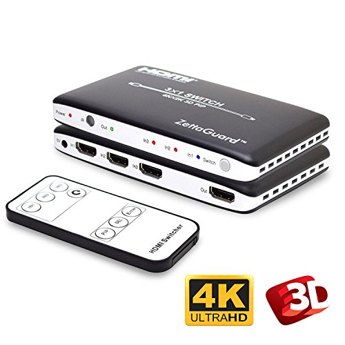 Zettaguard 4K x 2K 3 Port 3 x 1 HDMI Switch with PIP and IR Wireless Remote Control, HDMI Splitter Switcher Hub Port Switches (ZW310) (Switcher Remote Selector Switch)