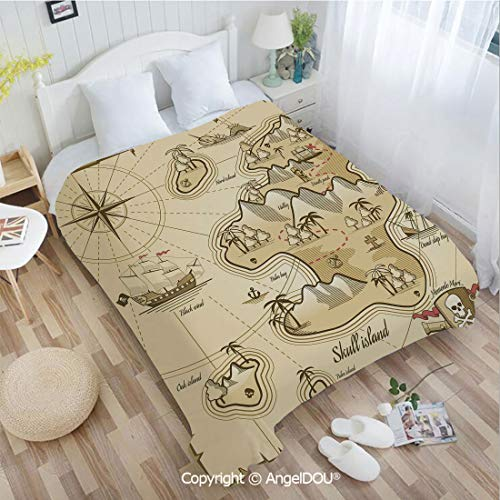 - AngelDOU Soft Warm Flannel Fleece Blanket W72 xL78 Hand Drawn Map of Treasure Island Sea Adventure Ocean Navigation Compass for Living Room/Bedroom.