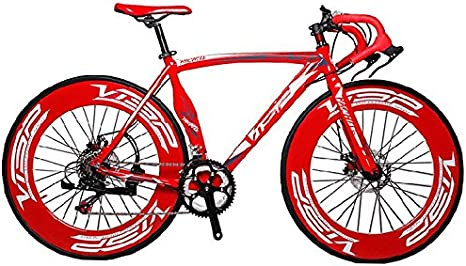 Cyrusher MT Bicicleta Roja de Aluminio, 54 cm, 70 mm de Alto Llanta 700C Para Hombre, Bicicleta de carretera 14 velocidades Freno de disco mecánico: Amazon.es: Deportes y aire libre
