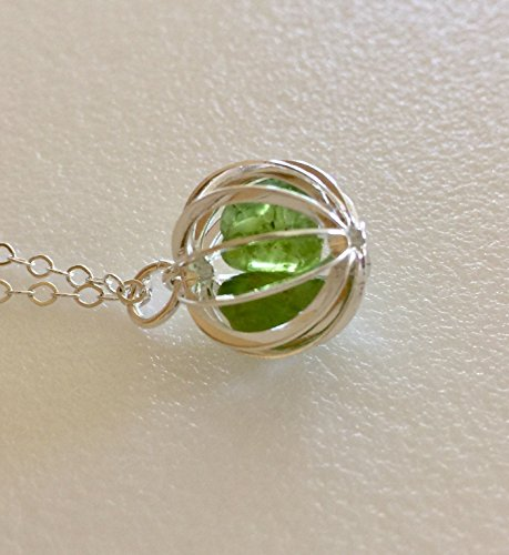 Peridot Cage Necklace, Genuine Peridot Nuggets, August Birthstone, Deep Yellow Green Color, Natural Peridot Gemstones, Sterling Silver.