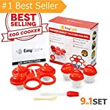 Egg Cooker Cups Silicone Poacher - Soft/Hard Boiled Eggs - 9in1 Set PREMIUM QUALITY As Seen On Tv Without Shell NonStick | 6Cups, Holder, Free Brush&Spoon, Instruction | Add Eggs Flavour by EasyEggie!