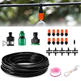 Home Garden Patio Misting Irrigation System,MSDADA Watering Irrigation Drip Kit, Included 32.8ft Tubing Hose, 10 Nozzle Mister Dripper Accessories for Patio Garden Greenhouse Trampoline for waterpark