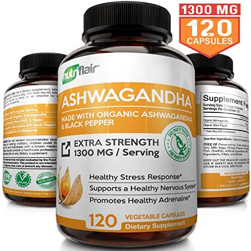 Organic Ashwagandha Capsules 1300MG with Black Pepper, 120 Veggie Capsules - Natural Root Powder Supplement for Stress & Anxiety Relief, Mood Enhancer, Immune, Energy, Thyroid Support, Adrenal Support