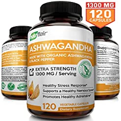 Organic Ashwagandha Capsules 1300MG with...