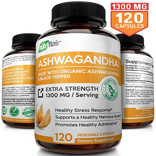 Organic Ashwagandha Capsules with Black Pepper 1300MG, 120 Veggie Capsules - Natural Root Powder Supplement for Stress & Anxiety Relief, Mood Enhancer, Immune, Energy, Thyroid Support, Adrenal Support (Best Anti Anxiety Medication For Weight Loss)