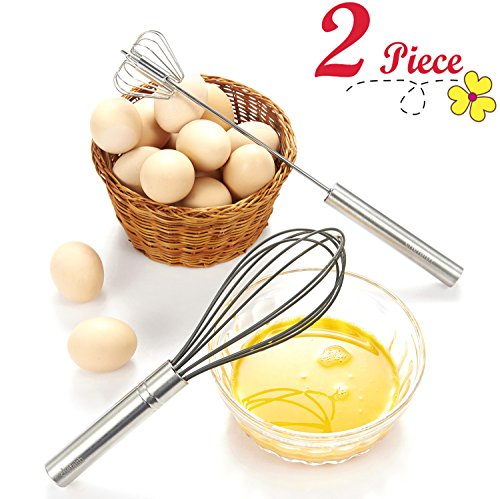 "Chefaith 12"" Stainless Steel Hand Push Whisk [Self Rotating] [Semi-Automatic] + Food-Grade Silicone Coated Wire Whisk as Bonus - Premium Quality & Ultra Durable Kitchen Whisks for Mixing, Blending"